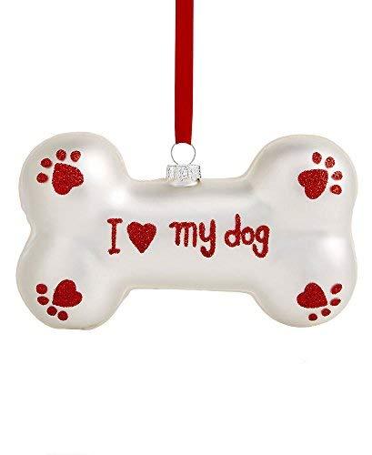Holiday Lane I Love My Dog Glass Bone Ornament