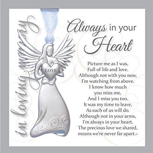 Always in Your Heart Sympathy Sentiment – Memorial/Remembrance/ Bereavement Gift (Metal Angel)