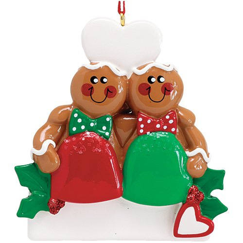 Personalized Gum Drop Gingerbread Couple Christmas Tree Ornament 2019 – Best Friend Sibling Hug Cookie Heart Twins Babies' Cute 1st Together Tradition Grand-Kid Year – Free Customization