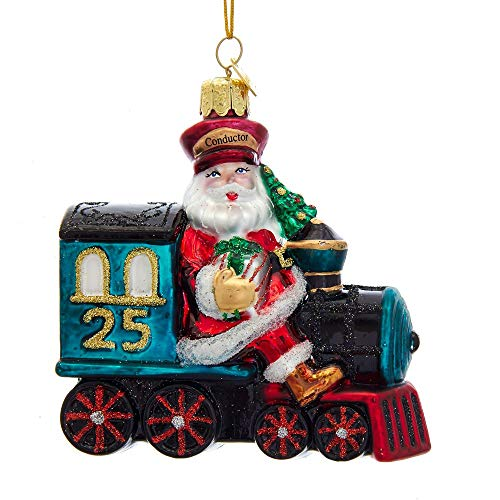 Kurt-Adler Glass Ornament with S-Hook and Gift Box, Santa Collection (Santa on Train, NB1494)