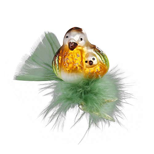 Inge-Glas Clip-On Bird I Love You 10062S019 German Glass Christmas Ornament