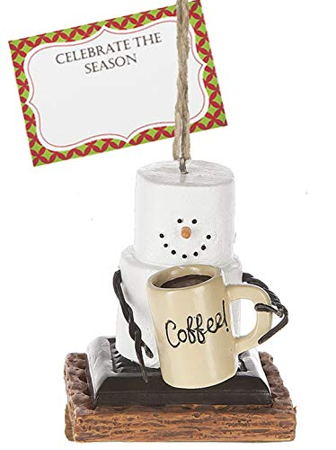 Ganz U.S.A., LLC S'Mores Marshmallow Coffee Lover Snowman Ornaments for Holiday Christmas Tree Decor Gifts or Everyday Decorations with Celebrate The Season Gift Card Presented in a White Gift Box