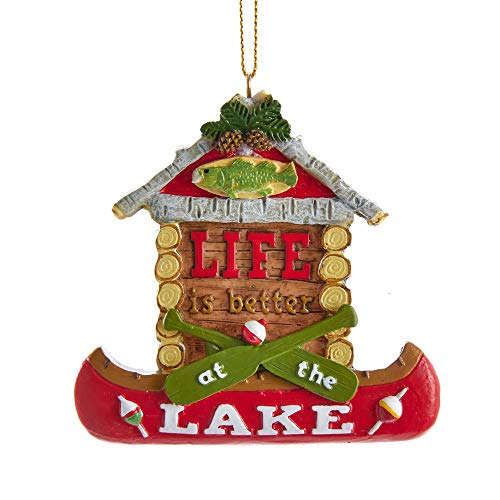 Kurt Adler 3.75-inch Canoe Cottage Hanging Ornament