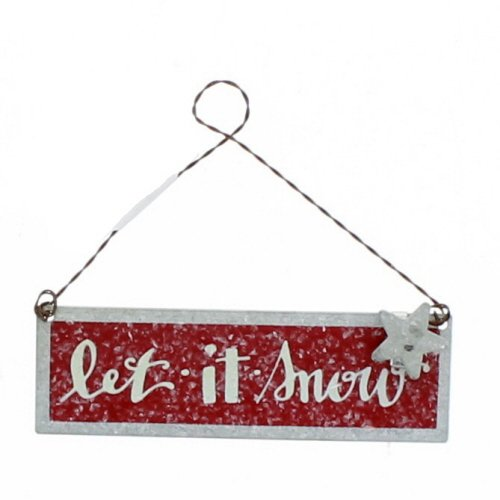 Primitives By Kathy Tin 4 Inches x 1.25 Inches Metal Sign Ornament – Let It Snow