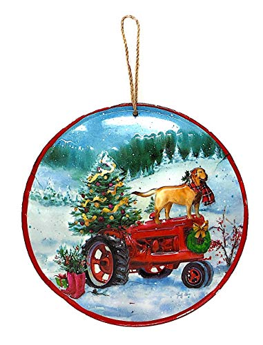 Raz Dog Ornament Christmas Holiday Wall Window Tree New Year Decoration Colorful 7.75″ Dog on Tractor