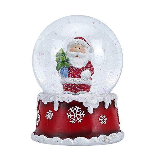 WOBAOS Snow Globes Musical with Colorful Flashing Lights and Dancing Snowflakes,Handmade Water Ball Crafts,Thanksgiving,Birthday,Christmas and New Year's Gift(Santa Claus, Diameter 100mm)