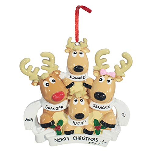 Personalized Christmas Tree Decoration Ornament 2019 – Traditional Home Décor – New Year Santa Gift – Holiday Fun w Hanging Hook – Reindeer Family of 4 with Scarves – Free Customization