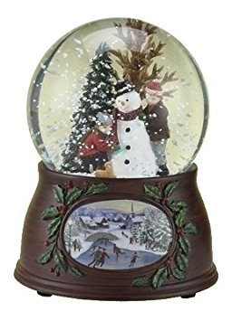 "Roman 5″ 100mm Kids/Snowman Dome W/Wood Look Base Plays ""WE WISH YOU A MERRY CHRISTMAS"""