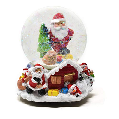 Gift Boutique Musical Christmas Snow Globe Decoration 5.5″ Glitter Dome Water Globes Santa Snowman Winter Tree Glass Ball Collectible Decor