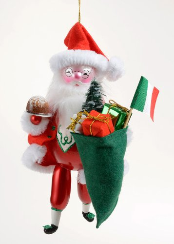De Carlini Limited Edition Italian Santa with Panettone Christmas Ornament