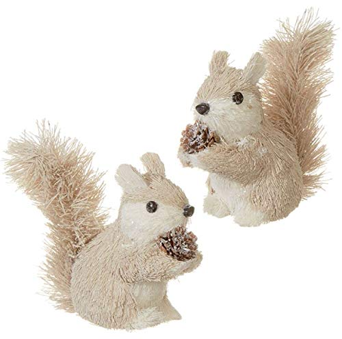 RAZ Imports Set of Two – 4.5″ Rustic Squirrel Christmas Ornament (3903436)