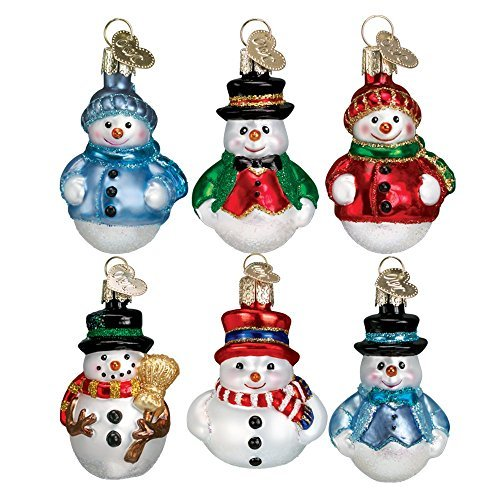 Old World Christmas Mini Ornamen Sets Glass Blown Ornaments for Christmas Tree Snowman