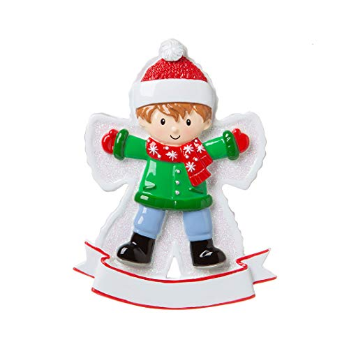 Personalized Snow Angel Boy Christmas Tree Ornament 2019 – Happy Kid Lying Down Fresh Snow Child-Hood Game Milestone Photo Memory Grand-Son Winter Tradition Year – Free Customization