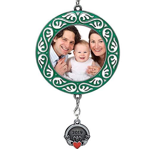 BANBERRY DESIGNS Irish Christmas Ornament Dated 2019 Keepsake Picture Frame -Claddagh 2019 Charm- Cherished Holiday Memories Photo Holder Ornament- Irish Theme Gift
