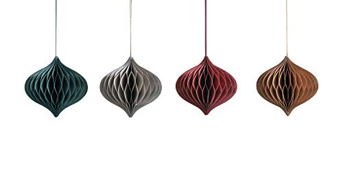 Creative Co-op Paper Honeycomb Onion Shaped (Set of 4 Colors) Misc Ornaments, Red