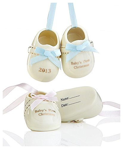 Holiday Lane Baby's First Pair of Booties Ornament 2013 Girl, Pink Accents