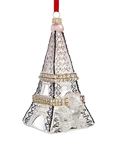 Holiday Lane Silver Eiffel Tower with Gold Glitter Ornament