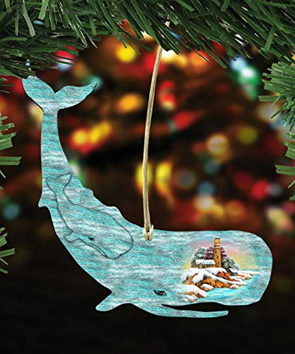 G. Debrekht Christmas Ornaments – Sea Life Wooden Christmas Tree Ornaments – Christmas Decorations for Holiday (Whale)