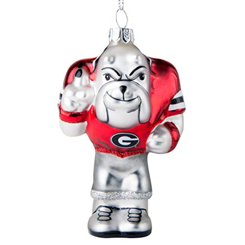 Topperscot NCAA Georgia Bulldogs Blown Glass Glitter Mascot Holiday Ornament