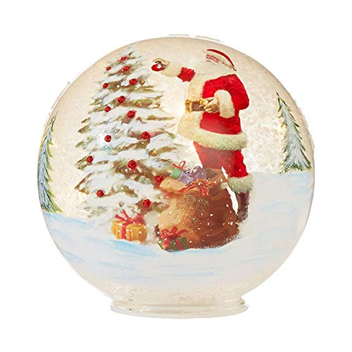 RAZ Imports Light Up Battery Operated Crackle Glass 6″ Globe with Santa Design
