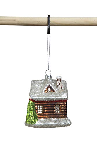 Creative Co-op Brown Glass Cabin Ornament