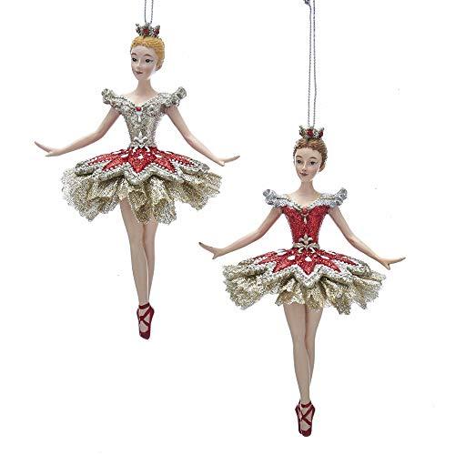 Kurt Adler Princess Ballerina 6″ Ornament (Silver & Red) Wearing A Ruby Dress with Ballet Shoes