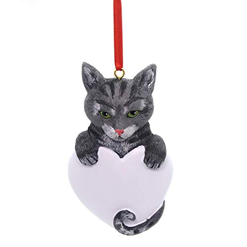 Rudolph on Me Tabby Cat Gray Personalized Christmas Ornament