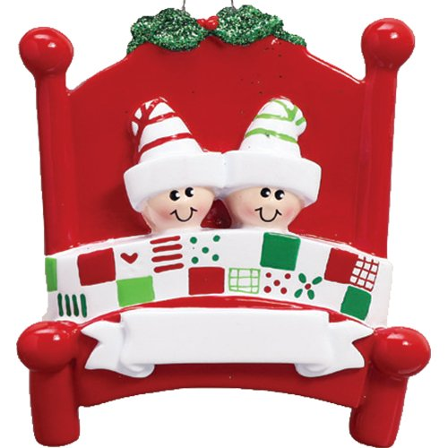Personalized Bed Heads Family of 2 Christmas Tree Ornament 2019 – Couple Twin Sibling Pattern Quilt Red Board Strip Sleep Hat Mistletoe Grandchild Kid Cousin Year – Free Customization (Two)