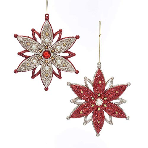 Kurt Adler 5.5″ Snowflakes with Pearls & Gold Trimmings (Ruby Red & Platinum) Set of 2 Ornaments for Christmas & Home Décor