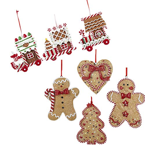 Kurt Adler Gingerbeard Christmas Ornament Assortment Set of 7: Designs Include Gingerbread Men, Toy Trains, Christmas Tree, and Hearts