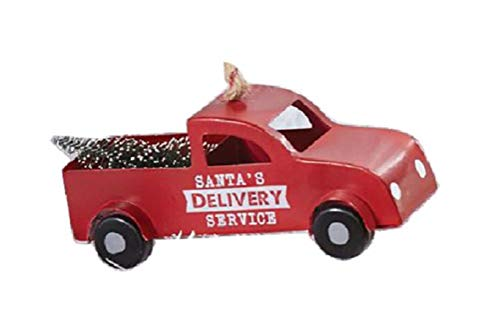 Mud Pie Metal Truck Ornament (Red)