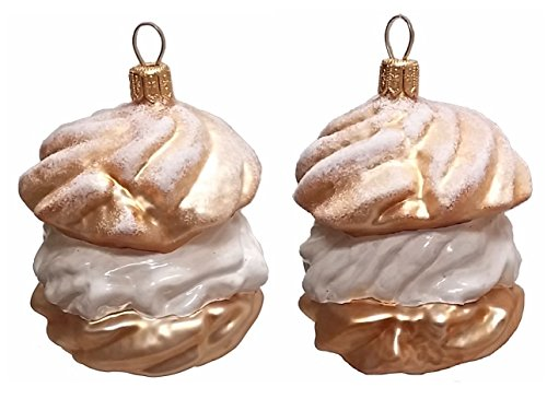 Pinnacle Peak Trading Company Cream Puff Dessert Polish Blown Glass Christmas Ornament Set of 2 Decorations