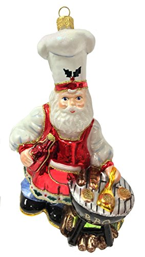 Pinnacle Peak Trading Company BBQ Barbeque Santa Claus Grilling Some Food Polish Glass Christmas Tree Ornament