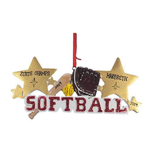 Personalized Christmas Tree Decoration Ornament 2019 – Traditional Home Décor – New Year Santa Gift – Holiday Fun w Hanging Hook – Softball – Free Customization