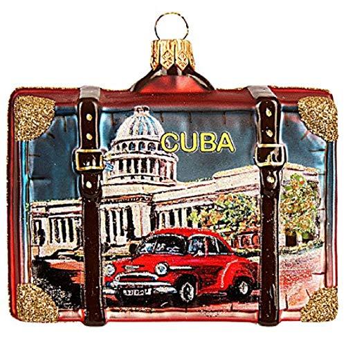Pinnacle Peak Trading Company Cuba Travel Suitcase Polish Glass Christmas Tree Ornament Havana Decoration