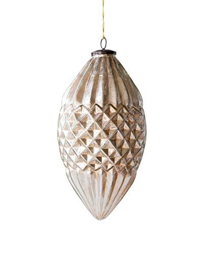 Creative Co-op Antique Silver Cone Glass Ornaments