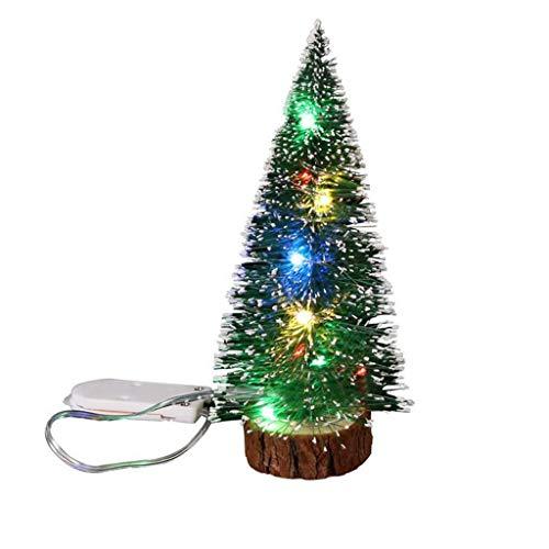 JJHAEVDY Artificial Mini Christmas Tree LED Light Pine Trees Sisal Trees Desktop Model Ornaments for Table Decoration