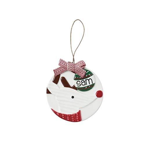 Mud Pie Reindeer with Santa Hat Personalizable Ceramic Hanging Ornament