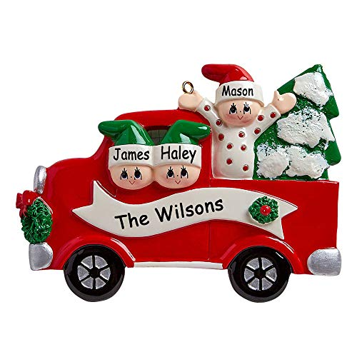 Rudolph and Me Personalized Family of 3 in Red Pick-Up Truck on Tree Day Christmas Ornament Holiday Tree Decoration with Custom Names