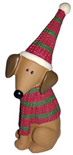 Blossom Bucket Brown Dachshund Puppy Dog in Sweater & Hat Resin Figurine #3