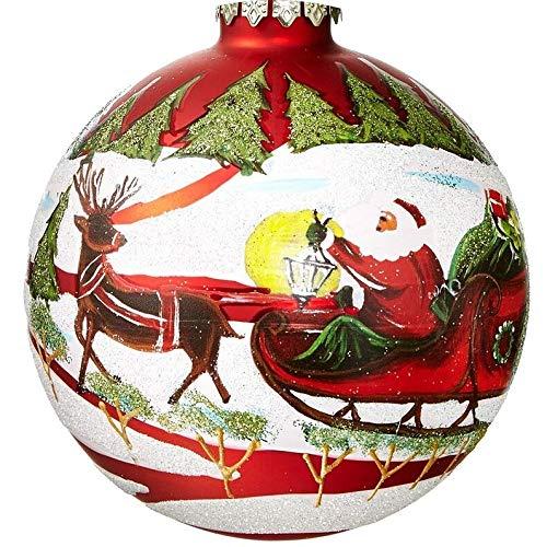 Holiday Lane Beautiful Glass 2019 Keepsake Red Glass Santa's Favorite Santa Red 4-inch Ball Ornament