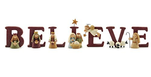 B-E-L-I-E-V-E Nativity Resin Christmas Decoration Set of 7 Letters – Size 1.75 in Tall