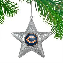 Chicago Bears Silver Star Ornament