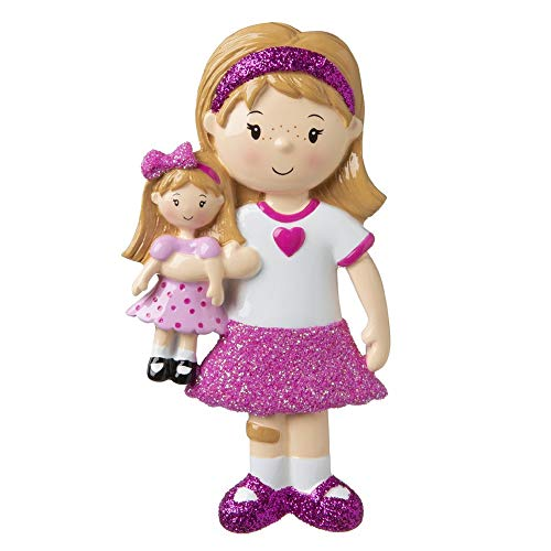 Girl Holding a Doll Personalized Christmas Ornament