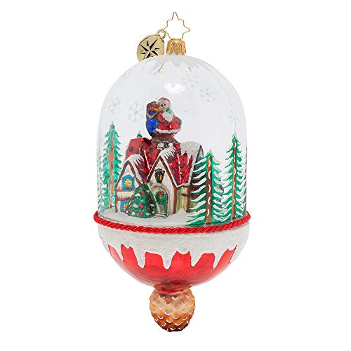 Christopher Radko Hand-Crafted European Glass Christmas Decorative Figural Ornament, Christmas Cottage