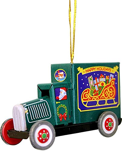 Alexander Taron Happy Holidays Santa Truck 2 x 3 Inches Tin Retro Collectible Hanging Christmas Ornament
