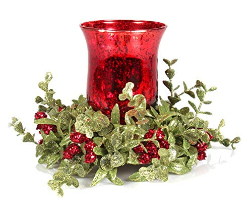 7 inch Mistletoe Floral Red Tea Light Candle Holder Set