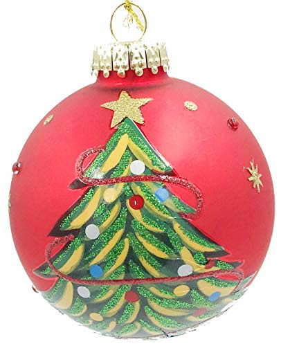 Holiday Lane Beautiful Glas2019 Keepsake Red Glass Santa's Favorite Christmas Tree Red 4-inch Ball Ornament