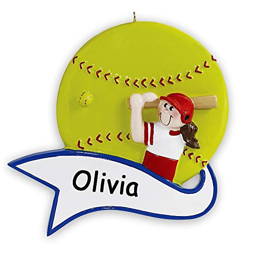 Rudolph and Me Personalized Softball Player Christmas Ornament – Girl Sports Ball with Banner Holiday Tree Decoration Team Gift – Custom Name