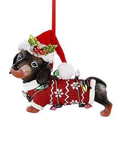 Holiday Lane Dachshund With Santa Hat Ornament
